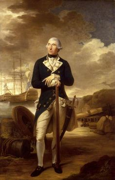 Rear-Admiral Richard Kempenfelt (1718–1782), 1782, by Tilly Kettle.  Wearing a flag officer's undress uniform of c.1774–1783. A fighting sword is by his left side and he leans on a long telescope that rests on his left foot. Kempenfelt was also the inventor of a numeral signal code that helped to revolutionize naval tactics. The portrait was exhibited at the Royal Academy in 1782.National Maritime Museum