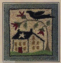 Redbud Lane Punch Needle Pattern w/ Stamped Weaver's Cloth in Crafts, Needlecrafts & Yarn, Embroidery Primitive Embroidery, Folk Embroidery, Embroidery Patterns, Embroidery Stitches, Punch Needle Patterns, Cross Stitch Patterns, Felted Wool Crafts, Felt Crafts, Diy Crafts