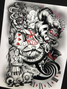 Alice In Wonderland Tattoo Sleeve, Alice In Wonderland Artwork, Dark Alice In Wonderland, Tattoo Lettering Design, Sketch Tattoo Design, Tattoo Designs, Sweet Tattoos, Unique Tattoos, Cute Tattoos