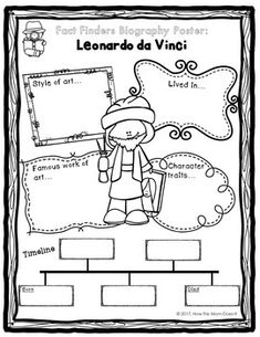 LEONARDO DA VINCI Inventor Coloring Page Craft or Poster