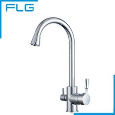Polished Chrome Brass 3 Way 360 Swivel Kitchen Sink Faucet Mixer Tap Pure  Water Filter,