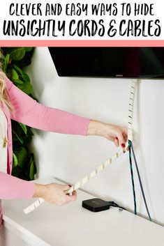 Cluttered cords and tangled cables getting on your last nerve? These simple fixes make it easy to hide those cords for a tidier home! Autumn Decorating, Decorating Tips, Electrical Cord, Kitchen Helper, Home Organization Hacks, Crazy Life, Creative Inspiration, Creative Ideas, Mess Up