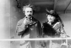 Professor Albert Einstein and his wife Elsa arrive from the Holy Land to raise funds for Zionism, April 4, 1921.
