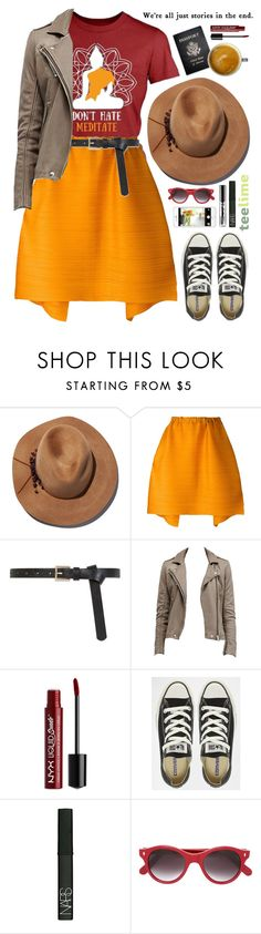 """""""Don't hate - Meditate"""" by teelime ❤ liked on Polyvore featuring Eugenia Kim, Pleats Please by Issey Miyake, Passport, NYX, Converse, NARS Cosmetics and Cutler and Gross"""
