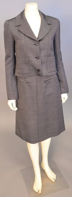 "Lot 443: Chanel two piece suit, navy with white stripe jacket and skirt (waist approximately 26""). #Nadeausauction #Socialite #Luxurycouture #vintagecouture #vintagefashion"