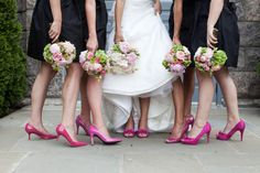 Maids rockin' hot pink shoes. Photography By / robinroemer.com, Floral Design By / danielflowers.net