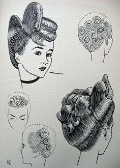 Vintage Hair - The Art & Craft of Hairdressing 1950 1950s Hairstyles, Vintage Hairstyles, Cool Hairstyles, Vintage Hairdresser, Cartoon Hair, Hair Illustration, Arts And Crafts Storage, Editorial Hair, Hair Setting