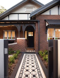 Victorian Geometric tiles in this heritage house Red Brick Exteriors, Brick Facade, Facade House, Red Brick Homes, Orange Brick Houses, House Exterior Color Schemes, Exterior Paint Colors For House, Bungalow Exterior, Exterior Tiles