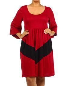 Burgundy & Black Chevron Scoop Neck Dress - Plus #zulily #zulilyfinds