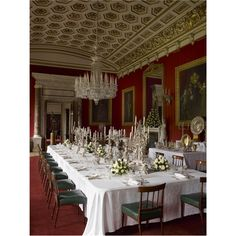 Chatsworth ~ red dining room - love ceiling detail