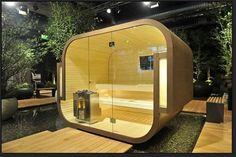Self-Contained Prefab Saunas : Küng Sauna 'Swing' Outdoor Pool Shower, Outdoor Spa, Indoor Outdoor, Outdoor Living, Outdoor Sauna Kits, Bio Sauna, Steam Sauna, Barrel Sauna, Sauna Design