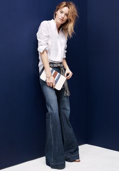 Madewell the Flea Market flares worn with collarless tux shirt + the Simple Pouch in surf stripe.