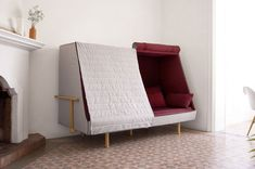 A sofa that becomes a fort to let you sleep in complete privacy; Orwell Cabin Bed Sofa Fort, Bed Sofa, Daybed, Fort Bed, Bed Tent, Cabin Furniture, Design Furniture, Modern Furniture, Modern Sofa