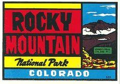 VINTAGE ROCKY MOUNTAIN NATIONAL PARK COLORADO LONG'S PEAK DECAL