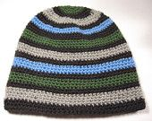 Green, Gray, Blue, and Black Striped Beanie - $25