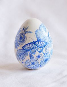Butterfly  HandPainted Wooden Egg  Unique Party by onceuponadoodle
