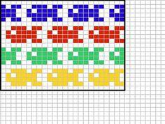 Allover fish chart Knitting pattern by Sandra Jäger Knitting Charts, Knitting Socks, Knitting Patterns Free, Baby Knitting, Free Pattern, Cross Stitch Embroidery, Cross Stitch Patterns, Quilt Patterns, Fair Isle Chart