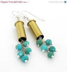 SALE  Bullet Earrings with Turquoise and Sterling by CandSNoland