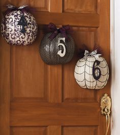Address pumpkins make festive Halloween door decorations!