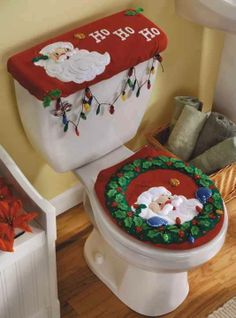 Peek-A-Boo Santa Bucilla Felt Christmas Bathroom Ensemble Kit - FTH Studio International Felt Christmas, Christmas Time, Christmas Crafts, Christmas Decorations, Xmas, Christmas Ornaments, Christmas Bathroom Sets, Felt Crafts, Diy And Crafts