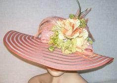 Wide Brim Peach Hat Kentucky Derby Hat Garden by GlitzOfFlorida
