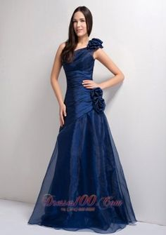 On Sale Navy Blue A-line One Shoulder Floor-length Tafeta and Organza Hand Made Flowers Prom Dress