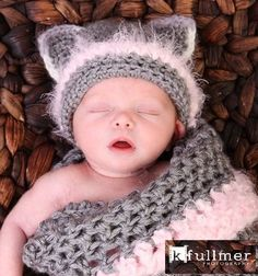 PDF Crochet PATTERN, Newborn Kitty Hat With Cocoon Pattern on Wanelo