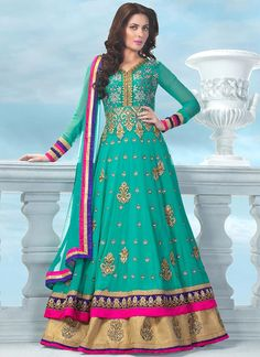 Turquoise and Pink Floor Length Anarkali Suit