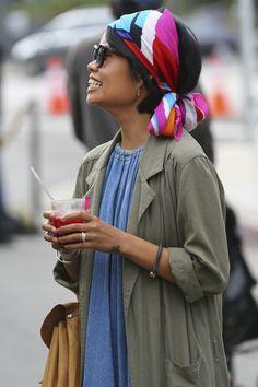 Colorful head wrap| Street style at the Echo Park Craft Fair [Photo: Katie Jones]