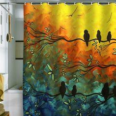 Madart Inc Birds of a Feather Shower Curtain Blue, Orange, Yellow