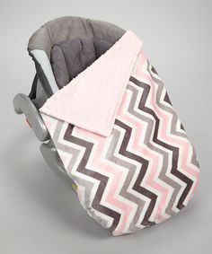 Take a look at this Lolly Gags Pink & Silver Zigzag Minky Car Seat Blanket on zulily today!