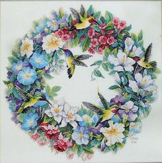 Dimensions The Gold Collection HUMMINGBIRD WREATH Counted Cross Stitch Pattern Chart Kit - By Lena Liu.