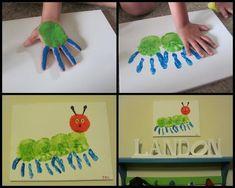20 bug crafts to make Kinder Basteln Handabdruck Raupe Nimmersatt The post 20 bug crafts to make appeared first on Kinder ideen. Kids Crafts, Bug Crafts, Preschool Crafts, Projects For Kids, Crafts To Make, Craft Projects, Arts And Crafts, Craft Kids, Project Ideas
