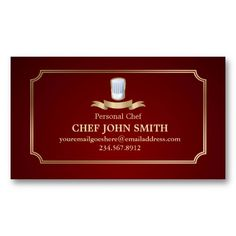 Classic Cook Chef Business Card Very classic and unisex card in shades of gold and burgundy red, with a stylized detailed logo of a chef hat (toque) and a golden banner. The text is written in shades of gold ochre