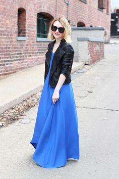 Poor Little It Girl - Blue Maxi Dress and Leather Jacket - via @poorlilitgirl