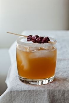 Sidecars with Dried Cherries - Lemon and Sugar for Rimming, Dried Cherries, Cognac, Lemon Juice, Grand Marnier.