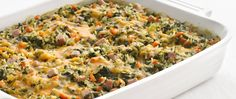 72% less sat fat  • 43% fewer calories • 61% less fat than the original recipe. Give a favorite casserole a makeover using brown rice for whole-grain benefits.
