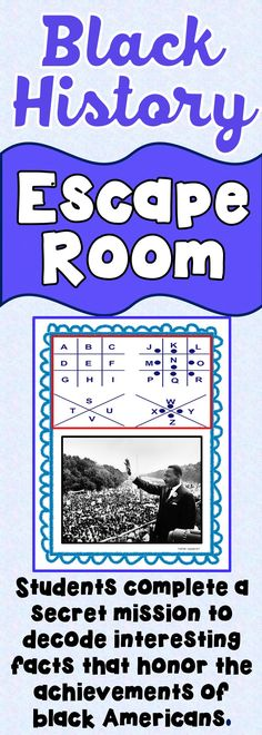 The Black History Escape Room will take students on a secret mission around the classroom! This esca Social Studies Activities, History Activities, Teaching Social Studies, Teaching Resources, School Resources, Teaching Ideas, World History Lessons, Us History, Women In History