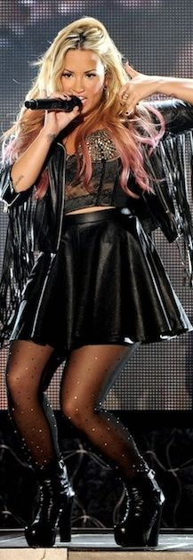 Who made Demi Lovato's black leather skirt and black boots that she wore in Los Angeles on July 18, 2012?