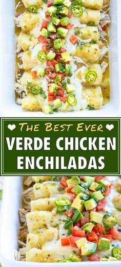 The BEST Chicken Enchiladas Verdes recipe is made with corn tortillas, shredded chicken, green salsa, and can be prepared with or without cheese. This healthy version of a Mexican favorite, is so easy to make. You can have it ready for dinner in a flash or freeze it for another time. #healthyfoods #chicken #enchiladas #verde #Mexican #dinner