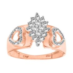 1/16 ct Diamond Rose Gold Over Sterling Cluster Ring (Sizes 5-10) MSRP $1250
