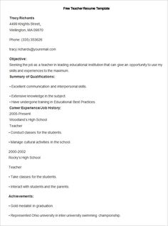Resume Template For Teacher With Experience Pdf Printable  How To