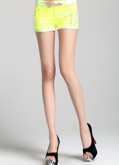 Yellow Fake Skirted Wave Trim Cotton Short  $35.70 Cotton Shorts, Waves, Yellow, Sexy, Skirts, Skirt, Ocean Waves, Gowns