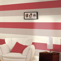 Stripe Wallpaper - Red / Cream / Grey - E40910  This stylish yet simple Stripe Wallpaper features a wide stripe design in complimentary tones of red, cream and grey that can be hung either vertically or horizontally. Easy to apply, this high quality lightly textured wallpaper would look great as a feature wall or equally good when used to decorate a whole room. A stylish stripe design wallpaper Can be hung vertically or horizontally Ideal for feature walls or entire rooms 10.05m (32...