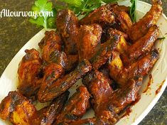 Spicy Barbecued Chicken Wings - All Our Way are tangy juicy pieces of chicken that are first grilled then painted with a tangy bourbon sauce in just 35 min.