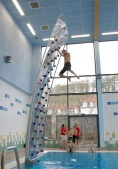 I would LOVE to try rock climbing over a pool!