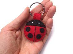 Plush ladybug keychain felt key ring cute lady bug by PeachPod