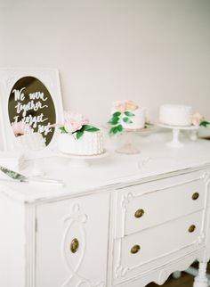 Trio of small cakes   Connie Dai Photography / A Vintage Affair Events & Rentals / Violet Floral Design  Read More: http://www.stylemepretty.com/2014/12/12/blush-pink-mountain-lodge-wedding/