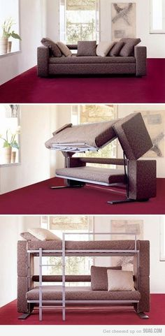 The convertible Doc XL sofa bed designed for small spaces Couch Bunk Beds, Hide A Bed Couch, Xl Sofa, Sleeper Sofa, Futon Sofa, Resource Furniture, Deco Design, Design Design, Design Room