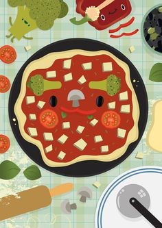 Pizza Face - Aaron Miller Illustration - not a recipe, but inspiration for veggieats!